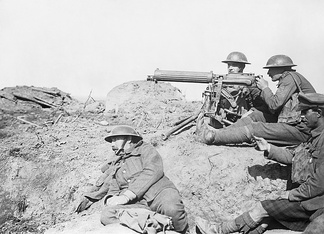 The machine gun emerged as a decisive weapon during World War I. Picture: British Vickers machine gun crew on the Western Front.
