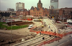 Phase 1 construction of the core section of the network near Manchester Piccadilly, 1991