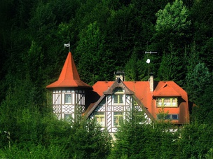 Half-timbered old villa in the Carpathian foothills in Skole Raion