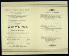 Whitman's lecture on Lincoln, invitation, 1886