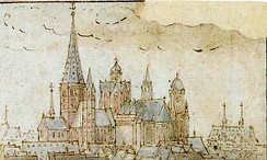 St. Martin's Cathedral in Mainz, by Wenzel Hollar; pen-and-ink drawing 1632