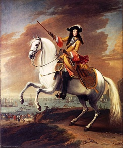 Equestrian portrait of William III by Jan Wyck, commemorating the start of the Glorious Revolution in 1688