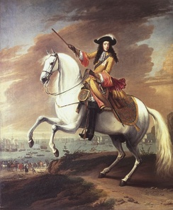 Equestrian portrait of William III by Jan Wyck, commemorating the landing at Brixham, Torbay, 5 November 1688