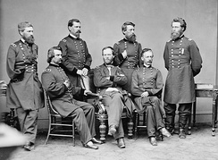 General Sherman at war's end with Generals Howard, Logan, Hazen, Davis, Slocum, and Mower; Howard and Logan were the last two commanders of the Army of the Tennessee