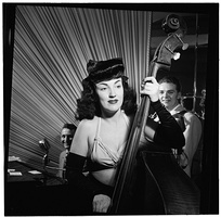 Double bass player Vivien Garry playing a show in New York City in 1947