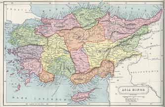 1907 map of Asia Minor, showing the local ancient kingdoms, including the East Aegean Islands and the island of Cyprus.[dubious  – discuss]