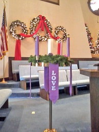 On Christmas, the Christ Candle in the center of the Advent wreath is traditionally lit in many church services.