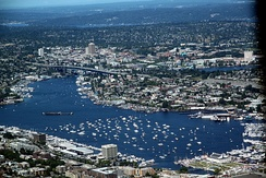 Aerial view of Lake Union on July 4, 2011, with numerous boats gathered for the July 4 fireworks show.
