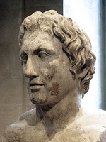 Left, Bust of Alexander the Great by the Athenian sculptor Leochares, 330 BC, Acropolis Museum, Athens. Right, Bust of Alexander the Great, a Roman copy of the Imperial Era (1st or 2nd century AD) after an original bronze sculpture made by the Greek sculptor Lysippos, Louvre, Paris.