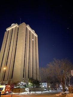 A photo of the Atmospheric and Oceanic Sciences building on UW's campus.