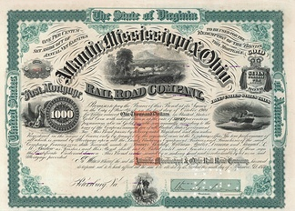Atlantic, Mississippi & Ohio Railroad Stock Certificate from 1871.