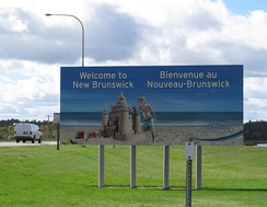 A bilingual welcome sign for New Brunswick. The province is one of only two bilingual provinces in Canada.
