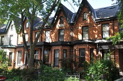 Victorian-era Bay-and-gable houses are a distinct architectural style of residence that is ubiquitous throughout the older neighborhoods of Toronto.