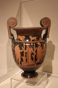Apulian volute-krater, close to the Sisyphus Painter, c. 400 BC. Possibly related to Euripides' lost play Andromeda,[21] and is suggestive of the kind of stage props that might have been used.