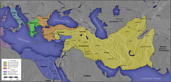 At the beginning of the 2nd century BCE, the Seleucid Empire (in yellow) expanded into Israel at the expense of Ptolemaic Egypt (blue).