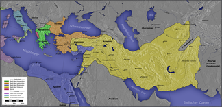 The major Hellenistic realms included the Diadochi kingdoms:   Kingdom of Ptolemy I Soter   Kingdom of Cassander   Kingdom of Lysimachus   Kingdom of Seleucus I Nicator   Epirus Also shown on the map:   Greek colonies   Carthage (non-Greek)   Rome (non-Greek)  The orange areas were often in dispute after 281 BC. The Attalid dynasty occupied some of this area. Not shown: Indo-Greek Kingdom.