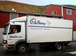 Truck delivering chocolate in the Faroe Islands