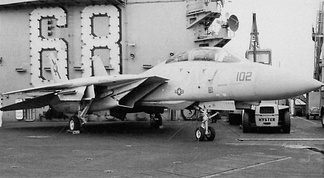 Fast Eagle 102, one of the two F-14 Tomcats on the deck of the USS Nimitz immediately following the incident