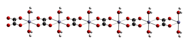 Crystal structure of iron(II) oxalate dihydrate, showing iron (gray), oxygen (red), carbon (black), and hydrogen (white) atoms.