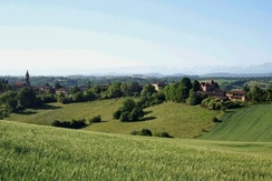 Typical view of the hilly countryside of Gascony, with the Pyrenees mountains in the far distance