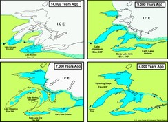 Stages of proglacial lake development in the region of the current North American Great Lakes.