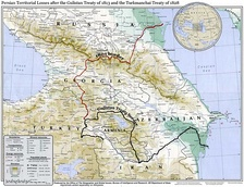 Map showing Irans's northwestern borders in the 19th century, comprising Eastern Georgia, Dagestan, Armenia, and Azerbaijan, before being forced to cede the territories to Imperial Russia per the two Russo-Persian Wars of the 19th century.