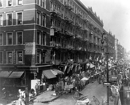 "Lower East Side in 1909. He said he never forgot his childhood years when he slept under tenement steps, ate scraps, wore secondhand clothes and sold newspapers. ""Every man should have a Lower East Side in his life,"" said Berlin."