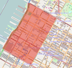 Location map of Hell's Kitchen in Manhattan