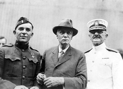 Thomas S. Butler, center, with U.S. Navy Admiral Henry T. Mayo and an unidentified Marine Lieutenant returning from France aboard USS Siboney in August 1919.