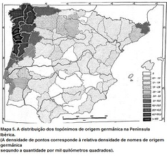 Incidence of Germanic toponymy in Portugal-Galicia