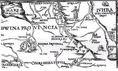 "The Uralic/Siberian origin of Hungarians was long hypothesized by European scholars. Here, Sigismund von Herberstein's 1549 map of Moscovia shows in the top right ""Yugra from where the Hungarians originated"" (Iuhra inde Ungaroru[m] origo), east of the Ob River. The Ural Mountains in the middle of the maps are labeled Montes dicti Cingulus Terræ (""The mountains called the Girdle of the Earth"")"
