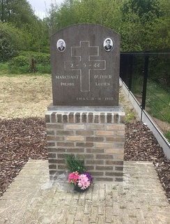 Memorial to French resistance fighters Marchant and Olivier, shot by the SS near Hill 60 (Ypres) in 1944