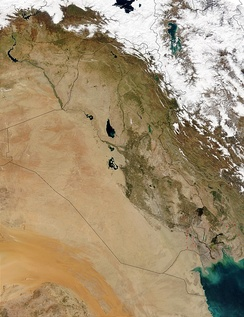Satellite map of Iraq.