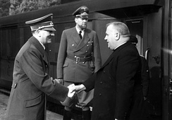 Roman Catholic priest Jozef Tiso (right), who was president of the Slovak Republic, a client state of Nazi Germany