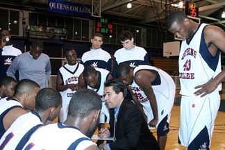 The Queens College Men's Basketball team (above). QC is the only CUNY school to participate in NCAA Division II sports.