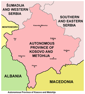 Map of the Autonomous Province of Kosovo and Metohija