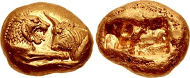Gold Croeseid, minted by King Croesus circa 561-546 BCE. (10.76 grams, Sardis mint)