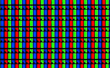 A photograph of the red, green, and blue elements (subpixels) of an LCD.  Additive mixing explains how light from these colored elements can be used for photorealistic color image reproduction.