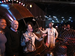Oakland Mayor Libby Schaaf with California governor Jerry Brown at Schaaf's inaugural celebration (pictured with the art car, the Golden Mean).