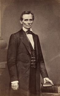 Abraham Lincoln (1860) by Mathew Brady, taken the day of the Cooper Union speech.