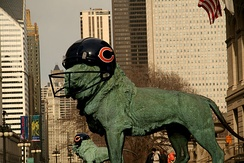 Many Chicago landmarks were decorated to support the Bears during Super Bowl XLI