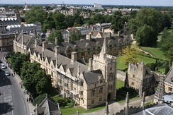 A view from the Great Tower of St Swithun's Quad, and behind it Longwall Quad.