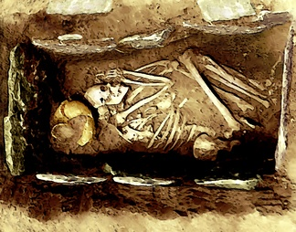 "A stone box grave with the body in the flexed position and a piece of ""ritually killed"" mortuary pottery"