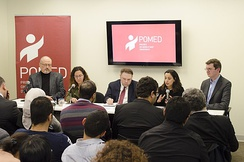 Saudi Arabian dissident journalist Jamal Khashoggi (left) at a 2018 Project on Middle East Democracy forum in Washington, D.C.