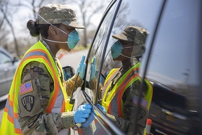 New York National Guard deployed at the New Rochelle Containment Zone which was the initial hotspot of the COVID-19 pandemic on the east coast of the United States
