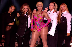 Minaj performing with Little Mix at the 2018 MTV Europe Music Awards
