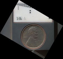 "1909 VDB ""US Lincoln Penny"" – on the planet Mars – part of a calibration target on the Curiosity Rover (September 10, 2012) (3-D version) (also, image on October 2, 2013 – after 411 days on Mars)"
