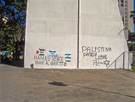 Antisemitic graffiti in Caracas in support of Hamas.