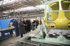 Polish MPs in the PZL Świdnik helicopter factory