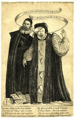 Etching of William Laud and Henry Burton. Laud is vomiting books.